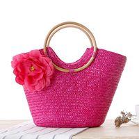 Wholesale woven rattan tote bag online - Summer Flower Rattan Beach Bag Woven Handmade Straw Bags Large Shoulder Totes Women s Bucket Travel Handbags LJJP294