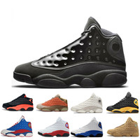 Wholesale black glitter canvas shoes women resale online - 13 s Mens Basketball Shoes Cap And Gown Phantom Chicago GS Hyper Royal Black Cat Flints Bred Brown Wheat DMP mens sports sneakers women
