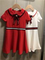 freies geburtstagskleid mädchen großhandel-Freies Sommer-Kleid des Verschiffen 2019 für Mädchen kleidet Kindbogen Prinzessin Dress Birthday Party Costumes Clothes
