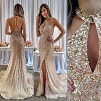 Wholesale side split bling evening dress for sale - Group buy 2019 Bling Champagne Jewel Split Crystal Beading Tulle Mermaid floor length prom dress special occasion backless formal party evening gowns