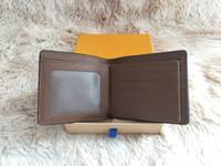 carteira dos homens da caixa venda por atacado-Paris xadrez estilo Designer mens carteira homens famosos bolsa de luxo lona especial múltipla curta pequena carteira bifold com caixa
