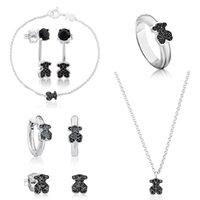 zodiaco anillos de moda al por mayor-100% 925 anillos de rubí sintético Pendientes osos dulce de la manera de plata par collar hermoso regalos elegantes de las mujeres magníficas
