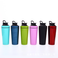 Wholesale protein blender mixer resale online - Stainless Steel Tumblers Double Wall Cups Vacuum Insulated Mugs Fitness Mixer Blender Cup Protein Powder Shaker Bottle GGA2623