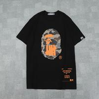 ingrosso camicie arancioni-Estate Uomo Donna Nero Bianco Arancione Camo stampato T-shirt girocollo T-shirt manica corta allentata casual da uomo