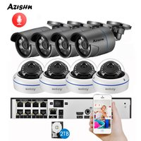 cctv kit cúpula al por mayor-Sistema de Vigilancia barato AZISHN H.265 8CH 4 MP POE NVR kit de audio de sonido CCTV Sistema de 4.0MP cámara domo IP de Seguridad al aire libre de interior P2P