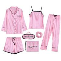pyjama mignon achat en gros de-7 pièces de nuit Pyjama 2019 Femme Automne Hiver Été Pyjamas Ensembles Sexy Costumes sommeil doux et léger Notte mignon cadeau Vêtements Accueil