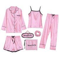 ingrosso pigiami da notte per donna-Sleepwear 7 Pezzi Pajama Set 2019 Donna Autunno Inverno Estate pigiami sexy degli insiemi del sonno morbida sveglia dolce da notte regalo Home Abbigliamento