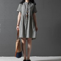 15a1b87a827 loose linen shorts women 2019 - EFINNY Women Plaid Loose Dress Cotton and  Linen Round Neck