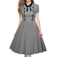 2dc0c7044 Nueva moda primavera verano lindo para mujer manga corta vintage Peter pan  collar Plaid Retro vestido de bola Swing Bow vestido para mujer