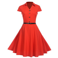 frauen s vintage stil kleidung großhandel-Frauen Kleid Vintage Kurzarm Knopf Verband Party Kleid Sommer Stil Robe Femme Sexy Kleid Frau Kleidung Vestidos