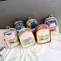 lila rucksack doppelte schultertaschen großhandel-Laser Transparent Jelly Bag Zwei Schultern Rucksack Frauen Männer Student Rucksack Sport Laufen Doppel Reißverschluss Rot Lila 23dm C1