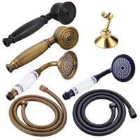 siyah altın atı toptan satış-Bronz Siyah Antik Altın Krom Pirinç Telefon Stil Banyo Duş Başlığı Su Tasarrufu El Duş Başlığı Sprey 1.5 m Hortum