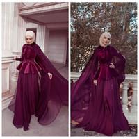 vestidos maxi modestos venda por atacado-Alta Neck Muçulmano Mangas Compridas Prom Dresses 2020 Modest Completa Coberto Mulheres Evening Vestido Maxi Império Cintura Longa Vestidos De Soiree Personalizado