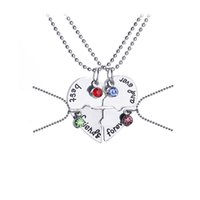 en iyi dost kalp kolye gümüşü toptan satış-Kristal Gümüş Kolye Ekleme Kolye En Iyi Arkadaşı Sonsuza Güzel Kalp Dostluk Yaratıcı BFF Keepsake Dostluk Hediye LJJS142