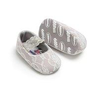 zapatos princesa impreso al por mayor-zapatos de bebé princesa Baby First Walkers encaje impresos zapatos para niñas pequeñas