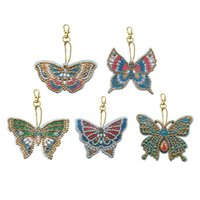 Wholesale handmade paintings girls for sale - Group buy 5Pcs Diy Special Shaped Full Butterfly Diamond Painting Keychain Kits Women Girl Bag Jewelry Handmade Gifts