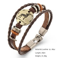 Wholesale alloy hand resale online - Free DHL Constellation Punk Leather Bracelet Wooden Bead Bronze Alloy Buckles Bracelet Hand WovenBracelet Fashion Jewelry D373L A