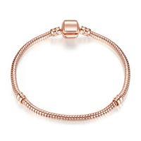 vergoldeten pandora armbänder großhandel-Authentische Silber überzogene Schlangenkette 18K Rose Gold 3mm Schlangenkette Armband für Pandora Silber Charms europäischen Perlen Armband DIY Schmuck