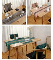 свадебный стол бегуны хлопок полиэстер оптовых-Стол и стол флаг китайский стиль диван подушка подушки простой обеденный коврик гостиная чайный стол чай мат ткань искусство