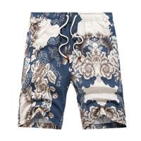 анти уф купальники оптовых-Summer Beach Shorts Men Swimwear In Surfing Short Printed De Bain Homme Anti-UV Quick Dry Zwemshort Heren Loose Large Size L-8XL