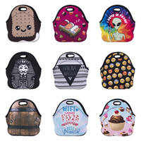 Wholesale biscuit designs resale online - Thicken Lunch Bag Design Diving Material Waterproof Cooler Thermal Insulated Bag Cartoon Expression Letter Biscuits Printed Handbags