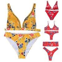 baixo pescoço sutiã venda por atacado-Das mulheres Sexy Two Piece Bikini Set Bohemian Floral Vintage Swimsuit Escavado Profundo Decote Em V Bandeau Bra cintura Baixa Thong Push Up Padde