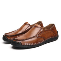 Wholesale casual handmade leather driving shoes moccasins resale online - Split Leather Flat Male Loafers Fashion Sewing Casual Men Shoes Moccasins Slip On Male Loafers Handmade Driving Shoes Men HC