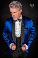 ingrosso cravatta di maglia blu satinata-Blue Satin Smoking dello scialle dello sposo Risvolto Groomsmen Mens Abito da sposa Popolare Giacca uomo Giacca 3 pezzi Suit (Jacket + Pants + Vest + Tie) 1004