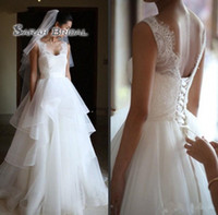 Wholesale wedding robes for sale - Tiered Skirt wedding dresses Sleeveless V Neck Lace Top Ruffles Skirt A Line country Boho Bridal Gowns Lace up Back robe de mariee