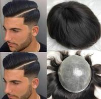 schwarze chinesische haarperücke großhandel-Mens Perücke seidige gerade volle PU Toupet Black # 1b Chinese Virgin Remy Menschenhaar-System-Men Hair Replacement für Männer geben Verschiffen