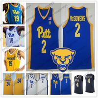 camiseta amarilla de baloncesto juvenil al por mayor-Personalizado Pittsburgh Panthers 2019 PITT Baloncesto Cualquier nombre Número Azul marino Blanco Amarillo 1 Xavier Johnson 2 Trey McGowens Hombres Juventud Niño Jersey