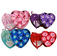 Wholesale artificial heart roses for sale - Group buy 3pcs Rose Soap Flower Artificial Rose in Heart Shaped Iron Box for Wedding Birthday Valentine Christmas Halloween Thanksgiving