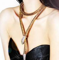 nj altın toptan satış-2019 Moda Collier Femme Takı Tam Rhinestone Avusturya Aksesuarları altın gümüş Kristal Yılan longPendant Kolye NJ-140