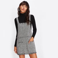 Wholesale pinafore dresses for sale - Fringe Detail Tweed Dress Women Square Neck Spaghetti Strap Dress Sleeveless Button Pockets Short Pinafore Dress