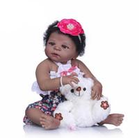 ingrosso pelle giocattolo realistica-22 '' Reborn Bebe Bonecas Handmade Realistic Reborn Baby Dolls Full Body Vinyl Silicone Black Skin Baby Doll Giocattoli per bambini Regali
