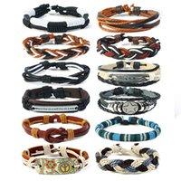 hippies leder großhandel-12pics / set Serie Boho Gypsy Hippie Punk Beige Cord Wrap Schwarz Braun Leder Schichten Stapel Armbänder Sets für Mann
