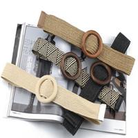 Wholesale braided rope belt women resale online - New Vintage Woven Wax Rope Wooden Bead Waist Belt Boho Women Smooth Round Buckle Belt Fashion Female Hand Beaded Braided