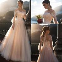 Wholesale blush wedding dresses resale online - Blush Lace Bohemian A Line Wedding Dresses Sheer Long Sleeves Tulle Lace Applique Sweep Train Wedding Dress Bridal Gowns robes de mariée