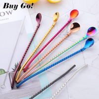 Wholesale twisted spoons for sale - Group buy 2PCS Long Twisted Straw Spoon Portable Gold Tea Scoop Reusable Colored Stainless Steel Straws Cocktail Coffee Stirring