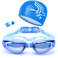 большие боксерские очки оптовых-Summer Swimming Goggles Professional Anti-fog Swimming Goggles Men & Women Big Box Electroplating + Cap SilverIMSB H5