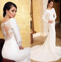 Wholesale mermaid sheer wedding dresses jewel neck for sale - Group buy Elegant Modest Mermaid Wedding Dresses With Long Sleeves New Jewel Neck Sheer Lace Back Simple Country Boho Bridal Gowns With Buttons
