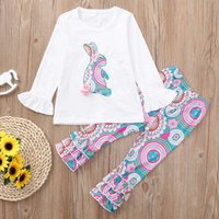 Wholesale toddler easter for sale - Group buy Easter Day Baby Girls Outfits Ruffle Sleeve Rabbit Tops Floral Print Pant Set Spring Fall Toddler Boutique Clothes