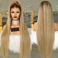 longo cabelo loiro perucas venda por atacado-Moda QUENTE Em Linha Reta Perruques Longos 28 Polegadas Completa Sintética Peruca Loira Simulação Perucas de Cabelo Humano Macio