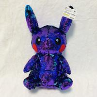 Wholesale lightning toys resale online - 2019 Detective Pikachu Purple piece Cute Pikachu Plush kawaii Toys Dark Lightning Pikachu Dolls Toys for Children