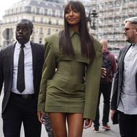 armee jacken frauen groihandel-Armee grünen Blazer Kleid hochwertige Designer-Frauen-Blazer-Jacken im Freien Doppeltes Breasted dünne Metallschnallen Leder Frauen Blazerjacke