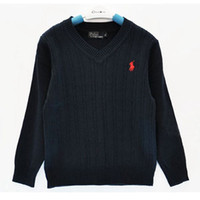 polo de algodón para niños al por mayor-Marca de moda para niños Suéter ropa de bebé de Alta Calidad Primavera / otoño Escuela Niños Y Niñas Niños POLO prendas de vestir exteriores Suéteres