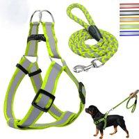 freie leine großhandel-Pet Soft Safe Reflektierendes Hundegeschirr und Hundeleine Voll verstellbares Hundegeschirr ohne Choke mit freier Leine