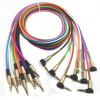 mini usb jack großhandel-3,5 mm Klinke Audiokabel Klinke Stecker auf Stecker Metall Audio-Aux-Kabel für Samsung S10 Autokopfhörer Lautsprecherkabel Linie Aux-Kabel