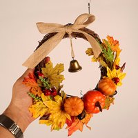 Wholesale halloween door decor resale online - Autumn Leaf Pumpkin Wreath with Bell Thanksgiving Halloween Front Door Home Decor HUG Deals
