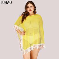ingrosso più il costume da bagno giallo di formato-TUHAO Plus Size Yellow Cover Up 2019 Abito da spiaggia Kaftan Beach Sexy Cover-Up nappa Bikini Costumi da bagno Costume da bagno Costume da bagno LZ37